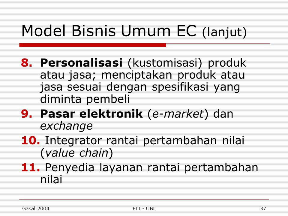 Gasal 2004FTI - UBL37 Model Bisnis Umum EC (lanjut) 8.Personalisasi (kustomisasi) produk atau jasa; menciptakan produk atau jasa sesuai dengan spesifi