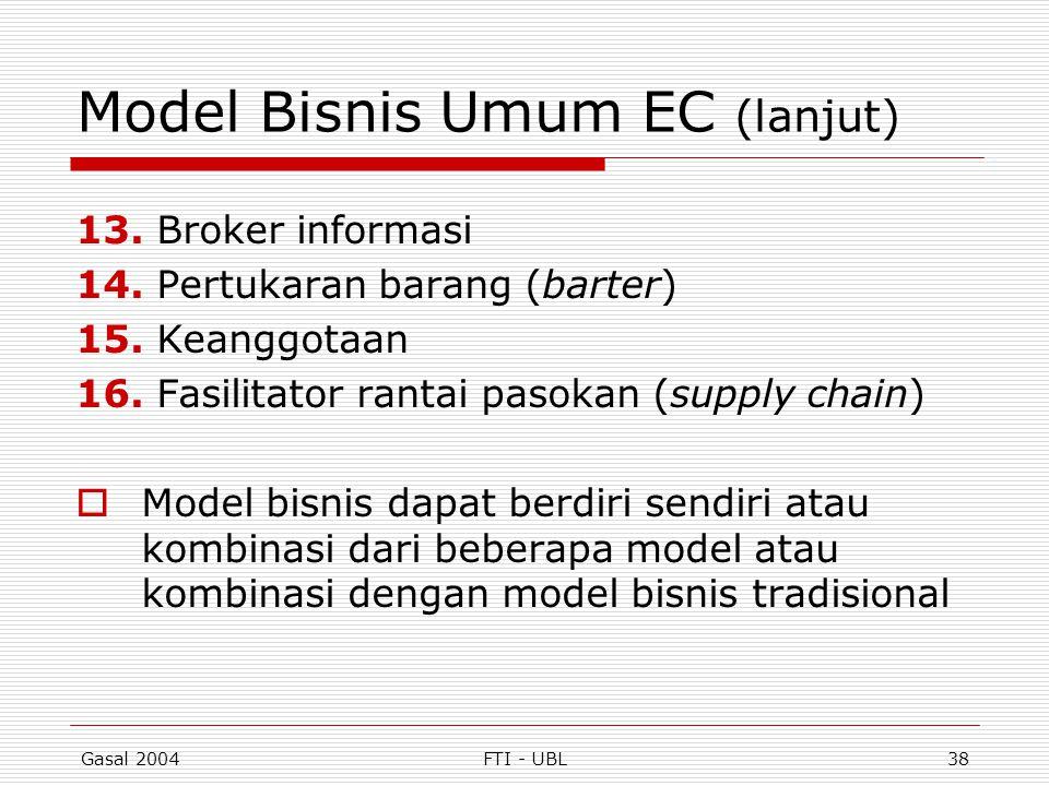 Gasal 2004FTI - UBL38 Model Bisnis Umum EC (lanjut) 13. Broker informasi 14. Pertukaran barang (barter) 15. Keanggotaan 16. Fasilitator rantai pasokan
