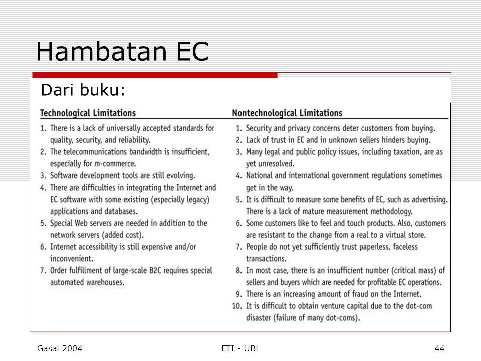 Gasal 2004FTI - UBL44 Hambatan EC Dari buku: