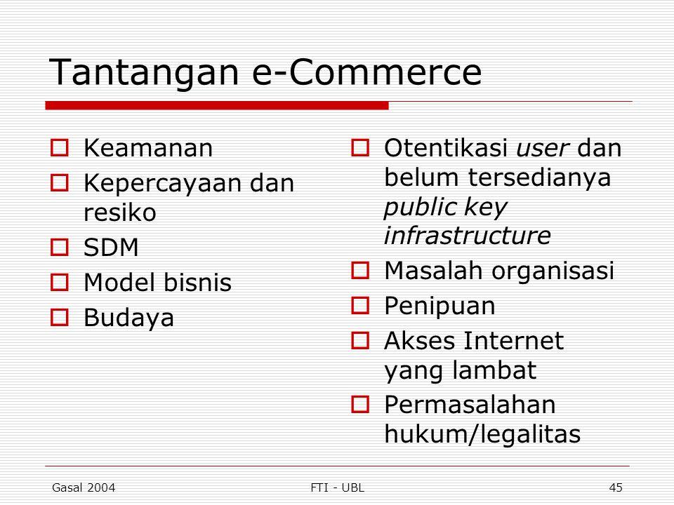Gasal 2004FTI - UBL45 Tantangan e-Commerce  Keamanan  Kepercayaan dan resiko  SDM  Model bisnis  Budaya  Otentikasi user dan belum tersedianya p