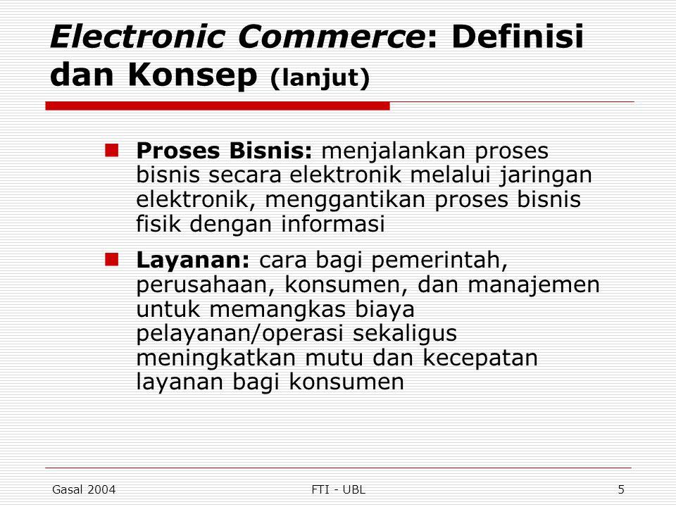 Gasal 2004FTI - UBL16 Klasifikasi EC menurut Pola Interaksi/Transaksi (lanjut)  mobile commerce (m-commerce): transaksi dan aktivitas EC dilakukan dengan teknologi wireless (misal telepon selular)  location-based commerce (l- commerce): transaksi m-commerce yang ditargetkan pada individu di lokasi dan waktu tertentu