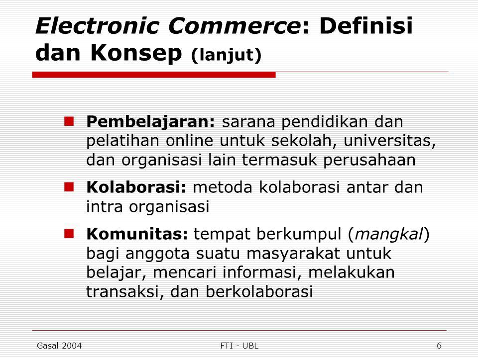 Gasal 2004FTI - UBL6 Electronic Commerce: Definisi dan Konsep (lanjut) Pembelajaran: sarana pendidikan dan pelatihan online untuk sekolah, universitas