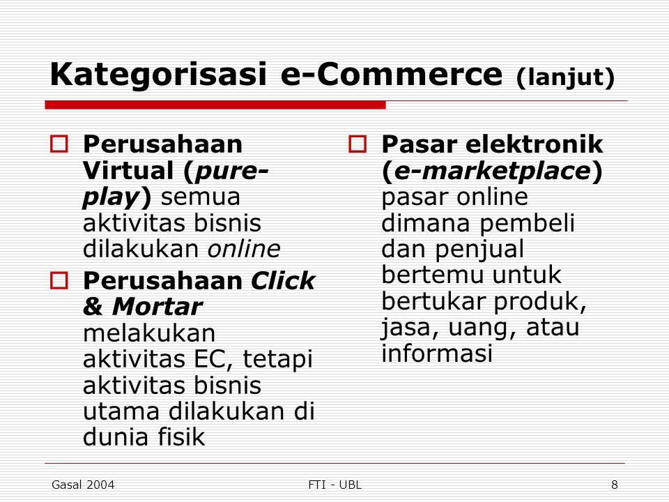 Gasal 2004FTI - UBL8 Kategorisasi e-Commerce (lanjut)  Perusahaan Virtual (pure- play) semua aktivitas bisnis dilakukan online  Perusahaan Click & M