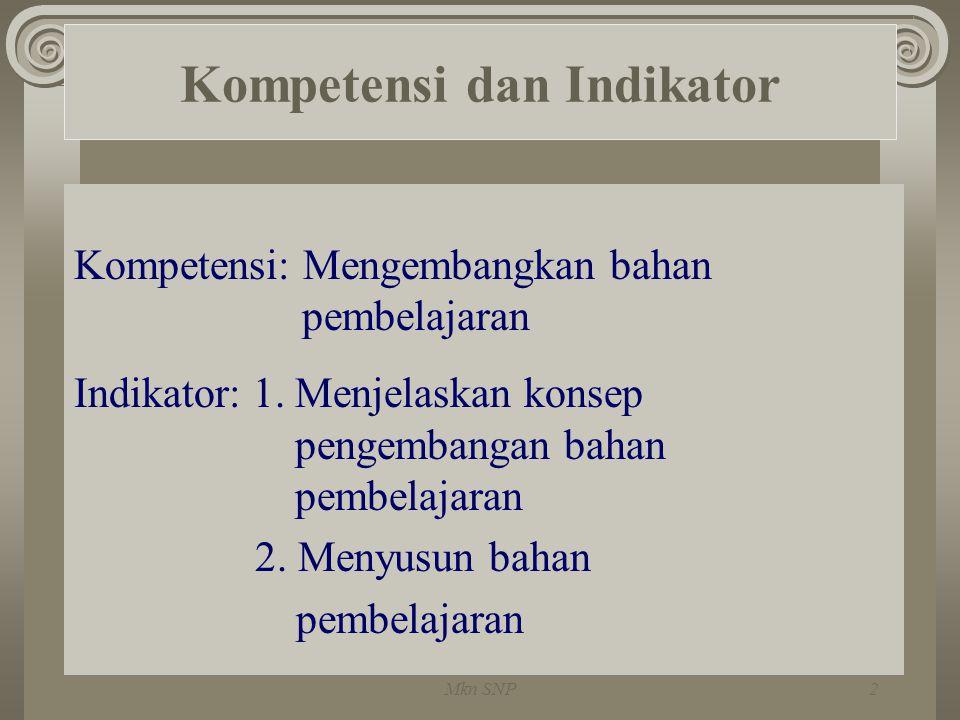Kompetensi dan Indikator Kompetensi: Mengembangkan bahan pembelajaran Indikator: 1. Menjelaskan konsep pengembangan bahan pembelajaran 2. Menyusun bah