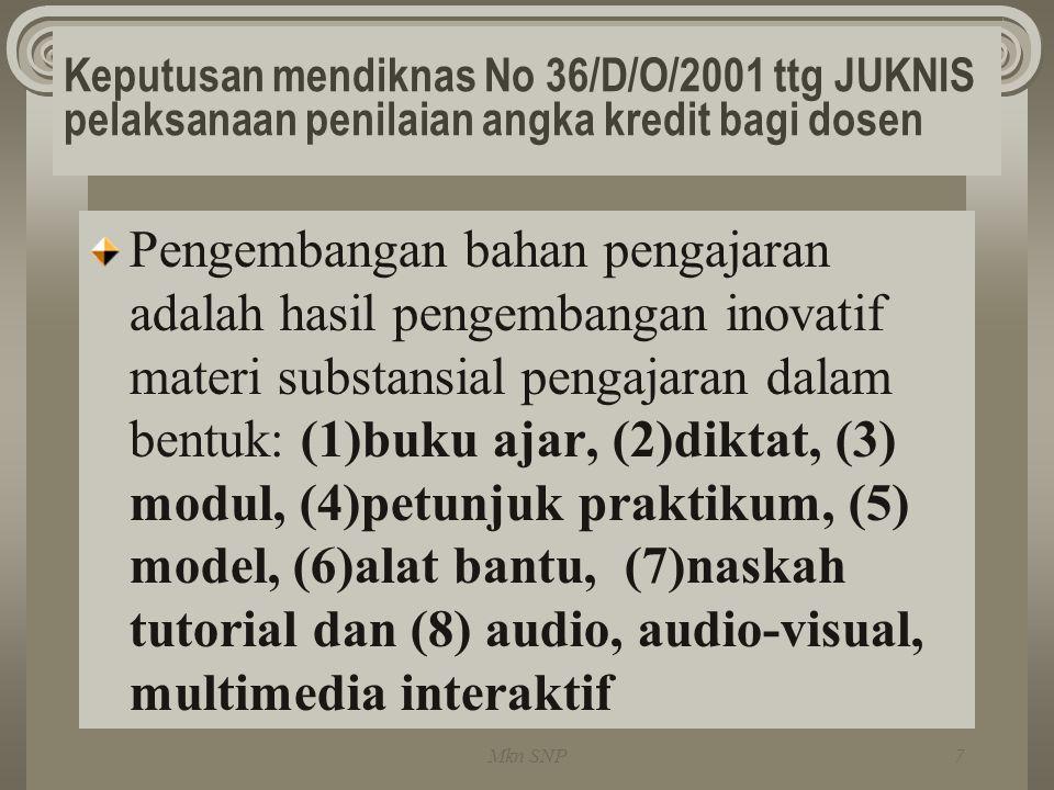 Keputusan mendiknas No 36/D/O/2001 ttg JUKNIS pelaksanaan penilaian angka kredit bagi dosen Pengembangan bahan pengajaran adalah hasil pengembangan in