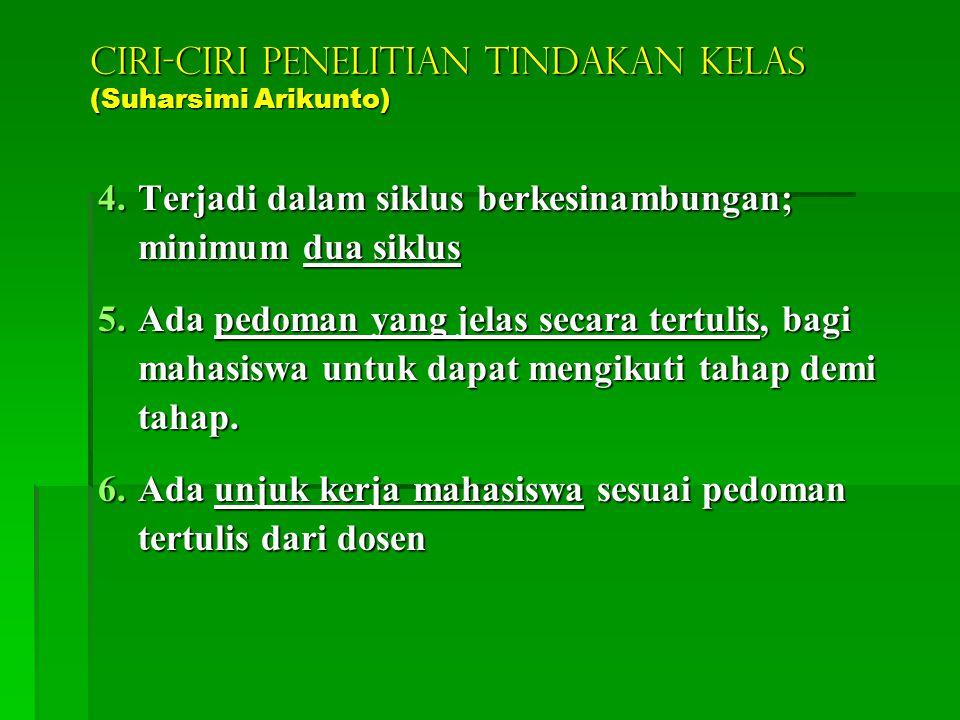 CIRI-CIRI PENELITIAN TINDAKAN KELAS (Suharsimi Arikunto) 1.Merupakan kegiatan nyata untuk meningkatkan mutu pembelajaran 2.Merupakan tindakan oleh dos