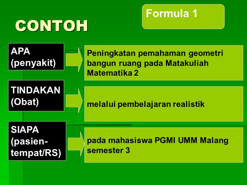 Formula 1:  Peningkatan …(penyakit)… melalui … (obat)… pada…(pasien)… di… (rumah sakit)  Judul:  Peningkatan pemahaman geometri bangun ruang pada M