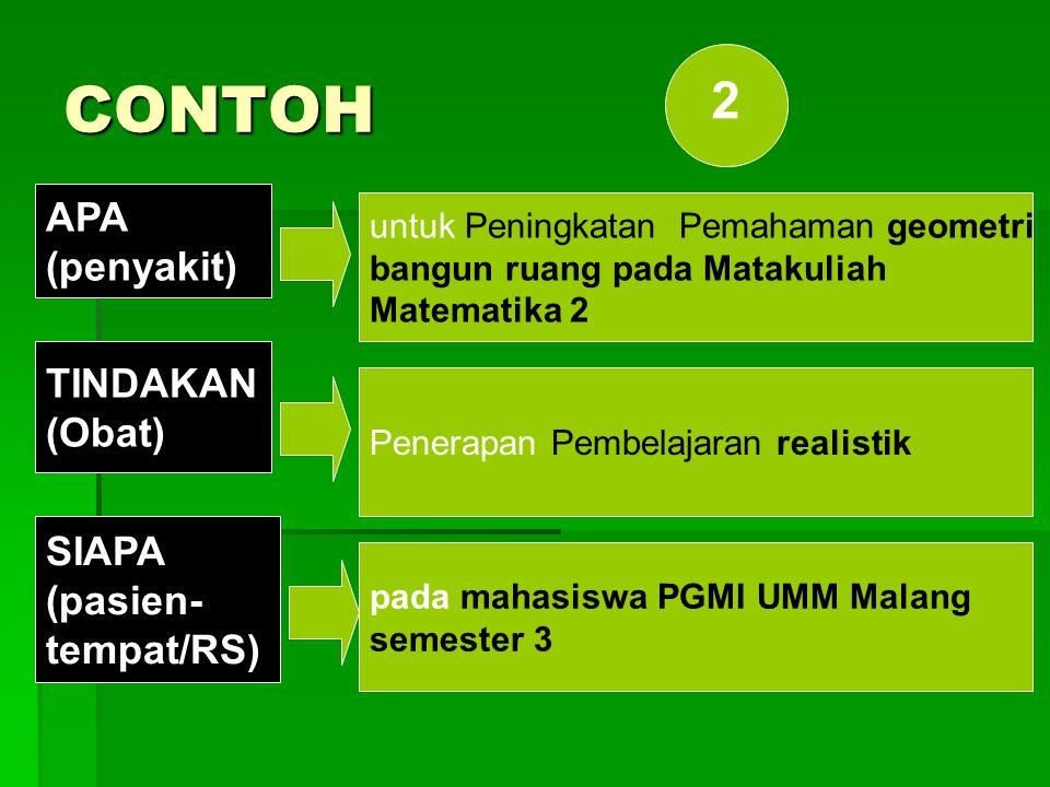 Formula 2:  Penerapan …(obat)… untuk Peningkatan …(penyakit)… pada… (pasien)… di … (rumah sakit) Judul:  Penerapan Pembelajaran realistik untuk Peni
