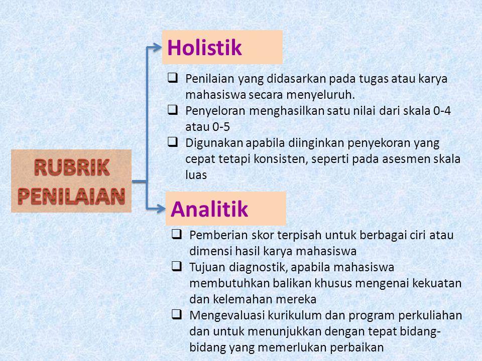 Holistik Analitik  Penilaian yang didasarkan pada tugas atau karya mahasiswa secara menyeluruh.  Penyeloran menghasilkan satu nilai dari skala 0-4 a
