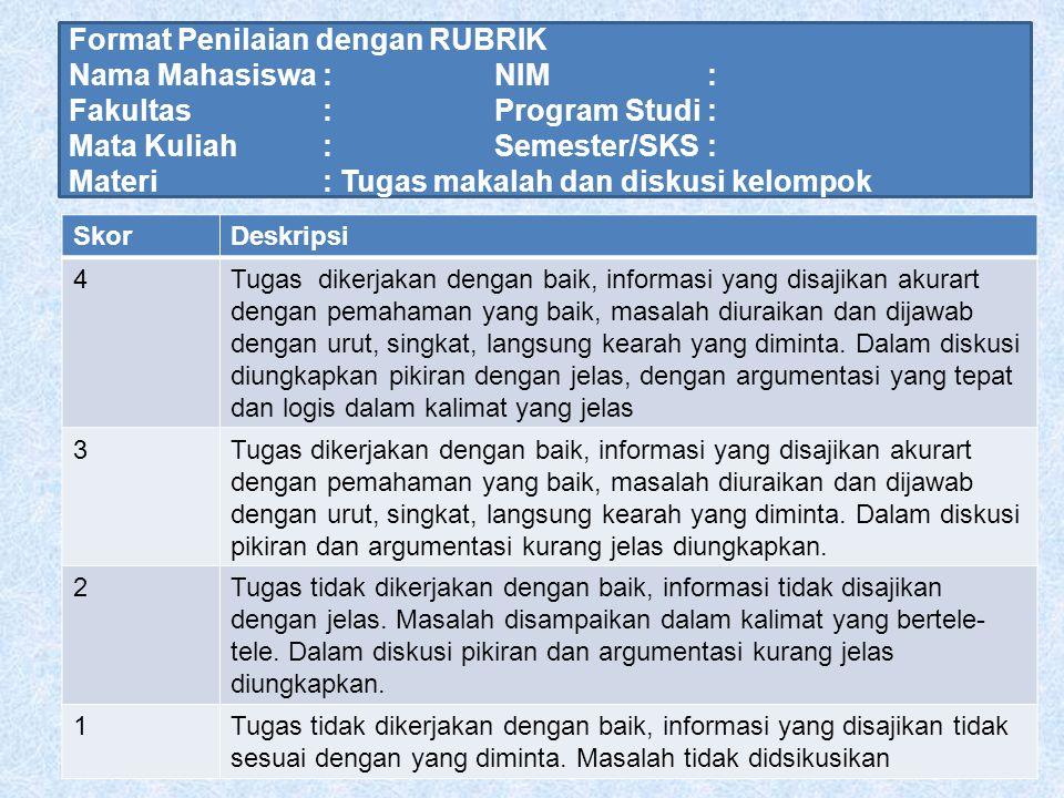 Format Penilaian dengan RUBRIK Nama Mahasiswa : NIM : Fakultas : Program Studi : Mata Kuliah : Semester/SKS : Materi : Tugas makalah dan diskusi kelom