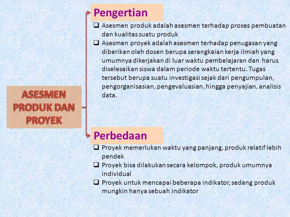 Pengertian Perbedaan  Asesmen produk adalah asesmen terhadap proses pembuatan dan kualitas suatu produk  Asesmen proyek adalah asesmen terhadap penu