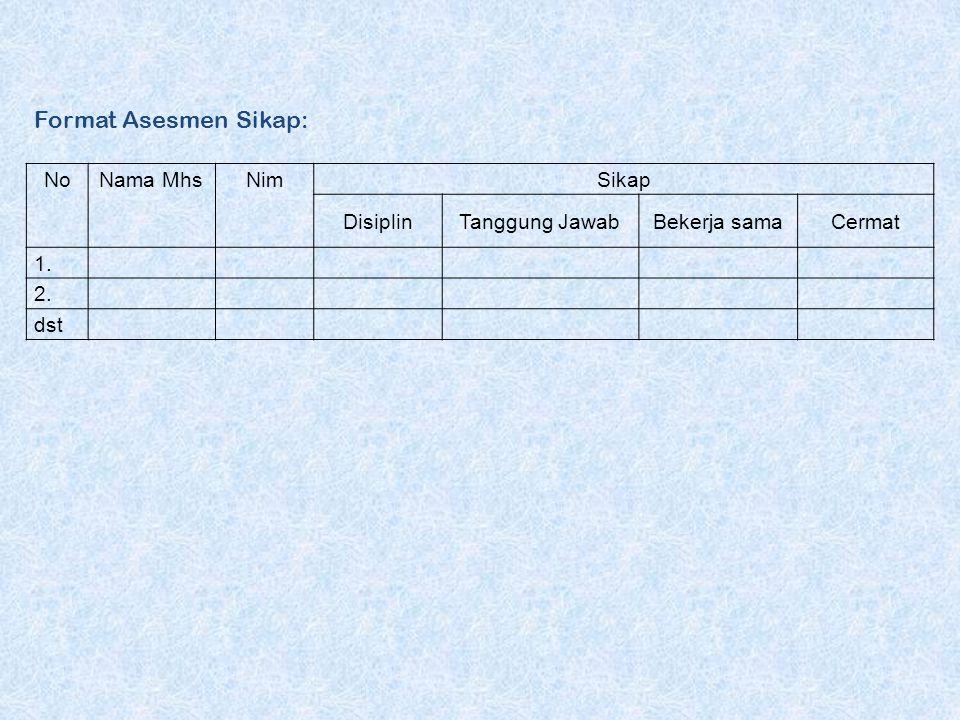 Format Asesmen Sikap: NoNama MhsNimSikap DisiplinTanggung JawabBekerja samaCermat 1. 2. dst