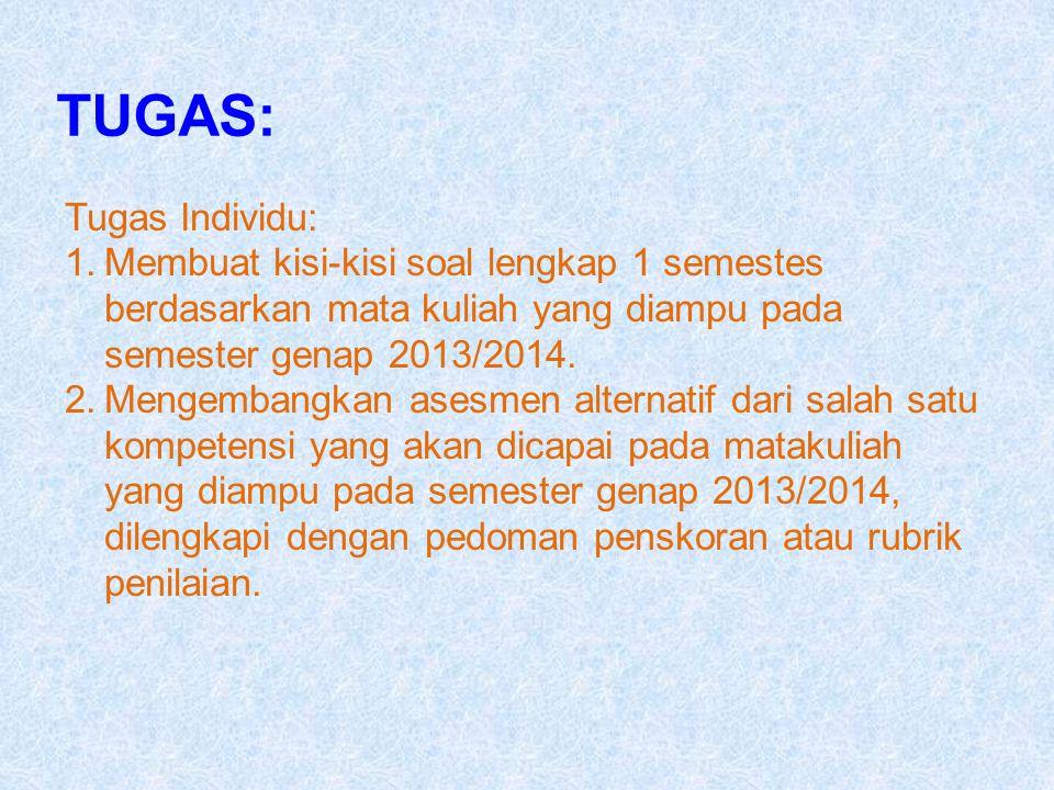 TUGAS: Tugas Individu: 1.Membuat kisi-kisi soal lengkap 1 semestes berdasarkan mata kuliah yang diampu pada semester genap 2013/2014. 2.Mengembangkan