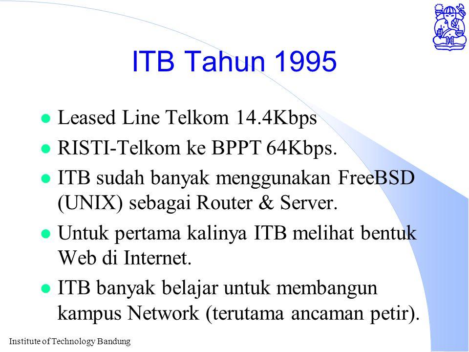 Institute of Technology Bandung ITB Tahun 1995 l Leased Line Telkom 14.4Kbps l RISTI-Telkom ke BPPT 64Kbps.