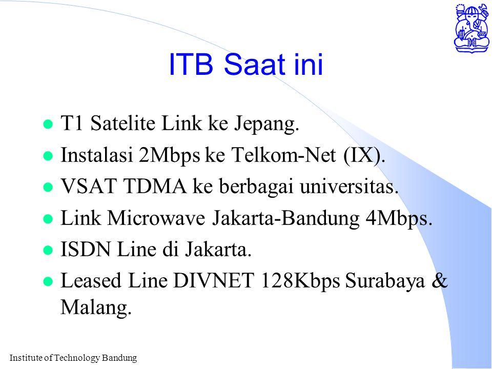 Institute of Technology Bandung ITB Saat ini l T1 Satelite Link ke Jepang.