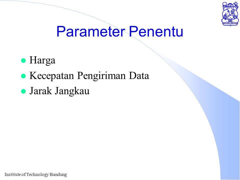 Institute of Technology Bandung Parameter Penentu l Harga l Kecepatan Pengiriman Data l Jarak Jangkau