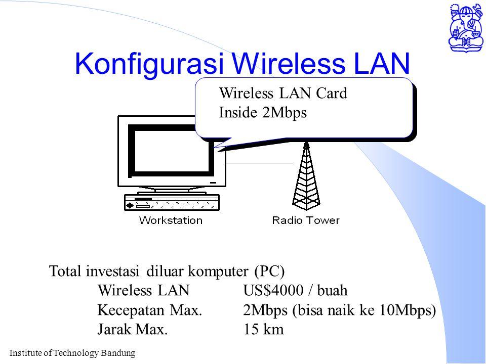 Institute of Technology Bandung Konfigurasi Wireless LAN Wireless LAN Card Inside 2Mbps Total investasi diluar komputer (PC) Wireless LAN US$4000 / buah Kecepatan Max.2Mbps (bisa naik ke 10Mbps) Jarak Max.15 km