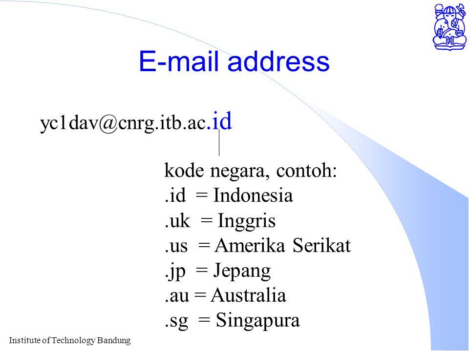 Institute of Technology Bandung E-mail address yc1dav@cnrg.itb.ac.id kode negara, contoh:.id = Indonesia.uk = Inggris.us = Amerika Serikat.jp = Jepang.au = Australia.sg = Singapura