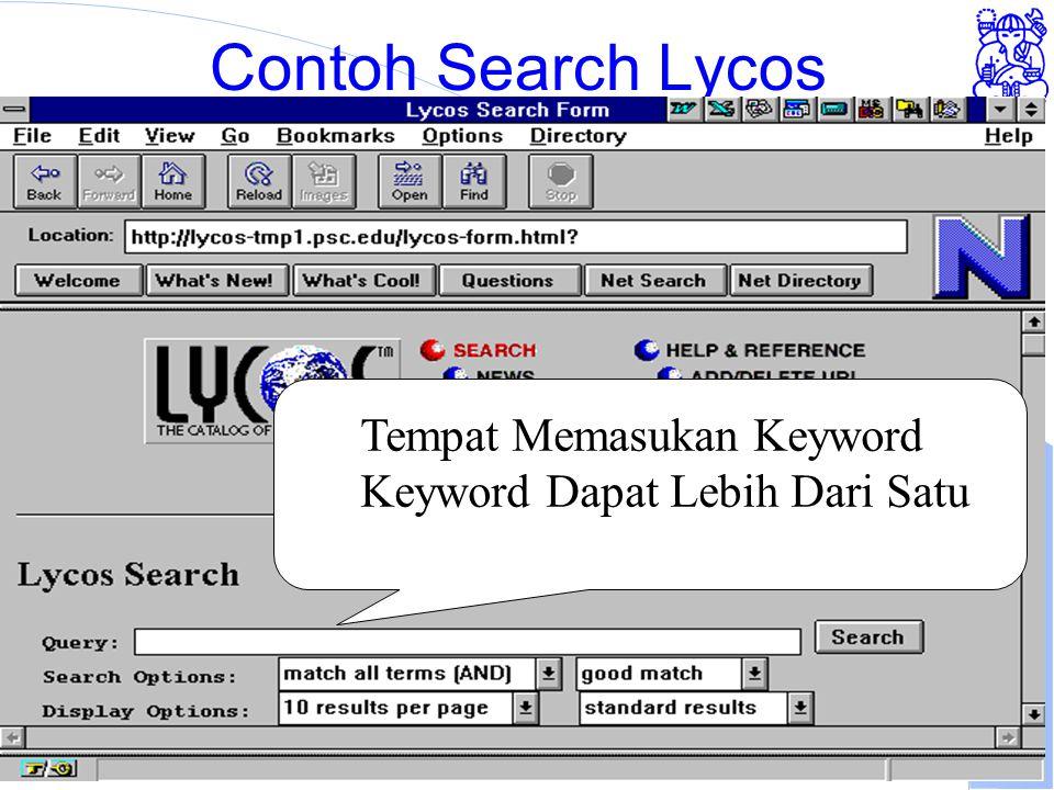 Institute of Technology Bandung Contoh Search Lycos Tempat Memasukan Keyword Keyword Dapat Lebih Dari Satu