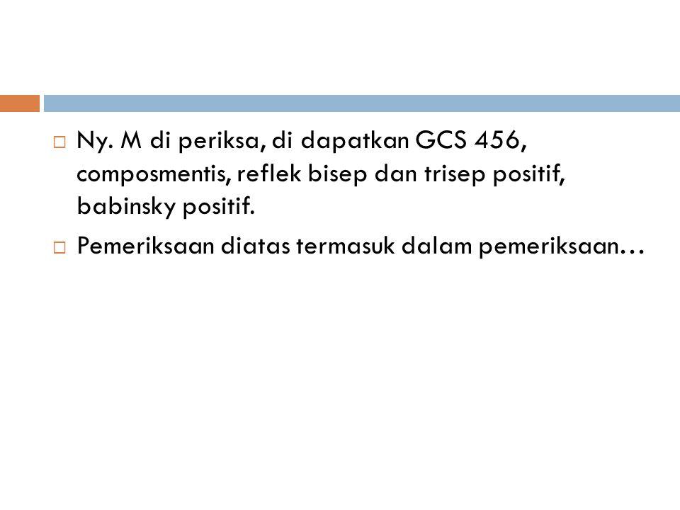  Ny. M di periksa, di dapatkan GCS 456, composmentis, reflek bisep dan trisep positif, babinsky positif.  Pemeriksaan diatas termasuk dalam pemeriks