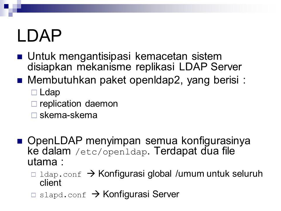 LDAP Untuk mengantisipasi kemacetan sistem disiapkan mekanisme replikasi LDAP Server Membutuhkan paket openldap2, yang berisi :  Ldap  replication daemon  skema-skema OpenLDAP menyimpan semua konfigurasinya ke dalam /etc/openldap.
