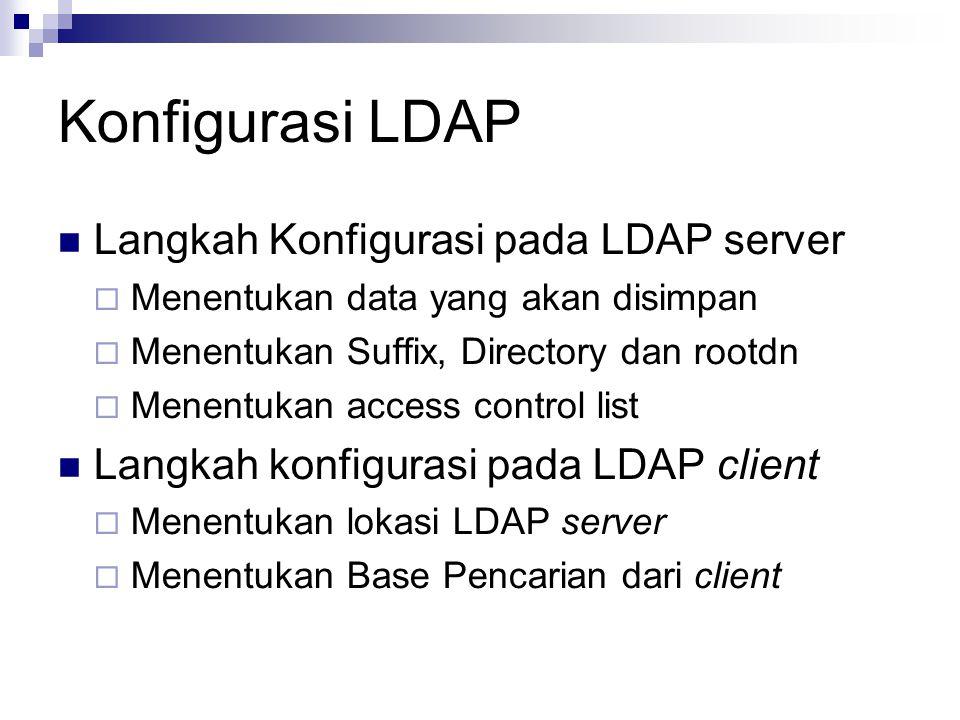 Konfigurasi LDAP Langkah Konfigurasi pada LDAP server  Menentukan data yang akan disimpan  Menentukan Suffix, Directory dan rootdn  Menentukan access control list Langkah konfigurasi pada LDAP client  Menentukan lokasi LDAP server  Menentukan Base Pencarian dari client