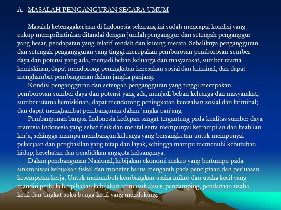 A.MASALAH PENGANGURAN SECARA UMUM Masalah ketenagakerjaan di Indonesia sekarang ini sudah mencapai kondisi yang cukup memprihatinkan ditandai dengan j