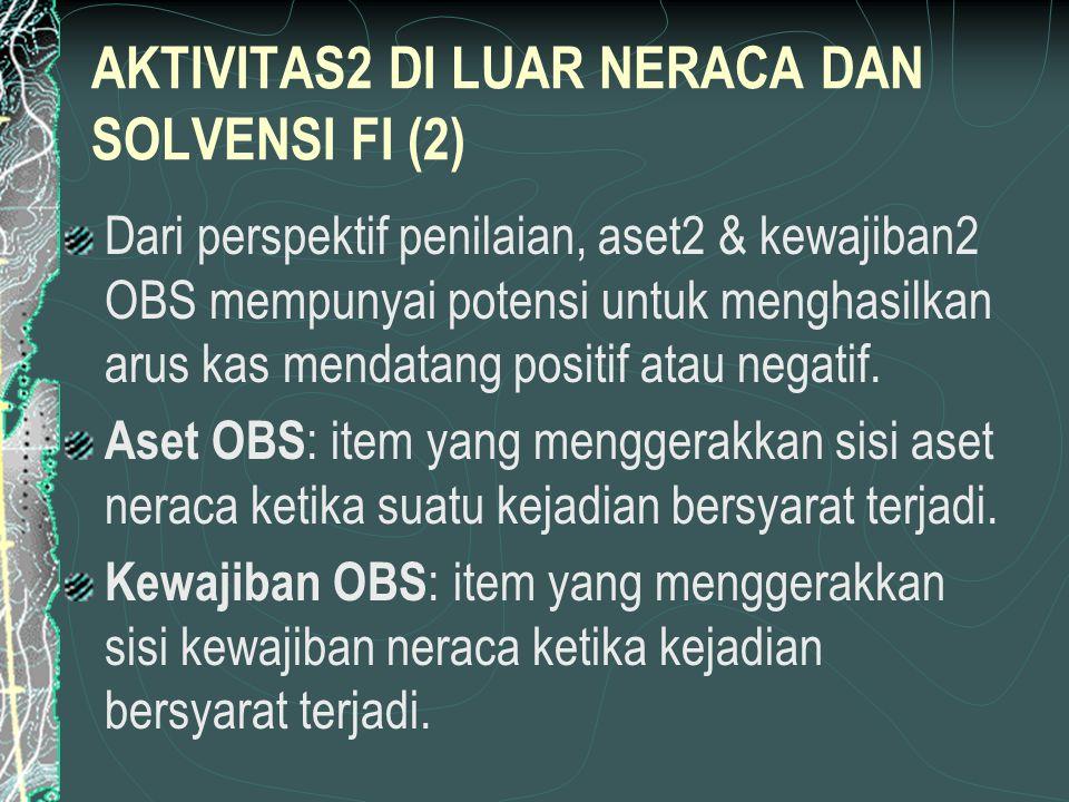 AKTIVITAS2 DI LUAR NERACA DAN SOLVENSI FI (2) Dari perspektif penilaian, aset2 & kewajiban2 OBS mempunyai potensi untuk menghasilkan arus kas mendatang positif atau negatif.