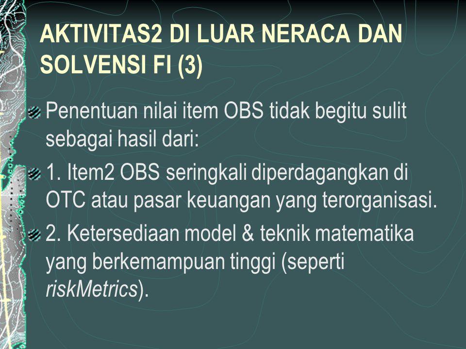 RISIKO OBS DAFTAR l & NONDAFTAR L (1) Bank harus melapor kepada bank sentral atas 5 aktivitas OBS setiap tiga bulan (di AS) sebagai bagian dari seksi Daftar L atas laporan penarikan.