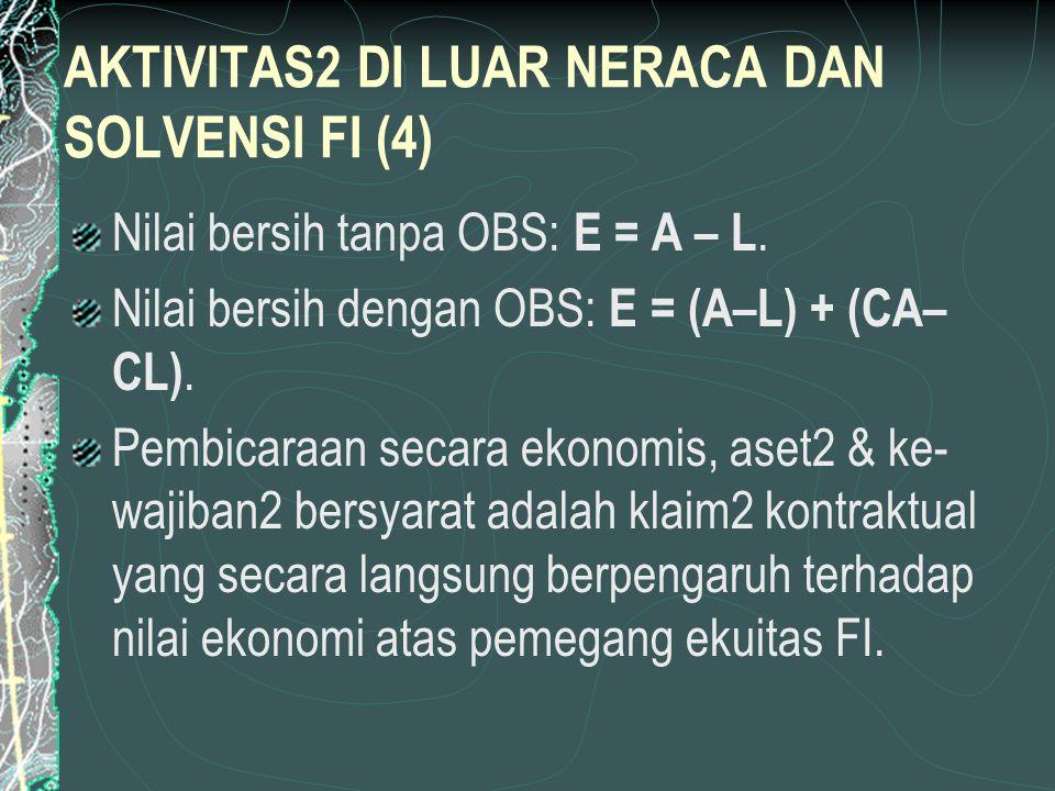 AKTIVITAS2 DI LUAR NERACA DAN SOLVENSI FI (4) Nilai bersih tanpa OBS: E = A – L.