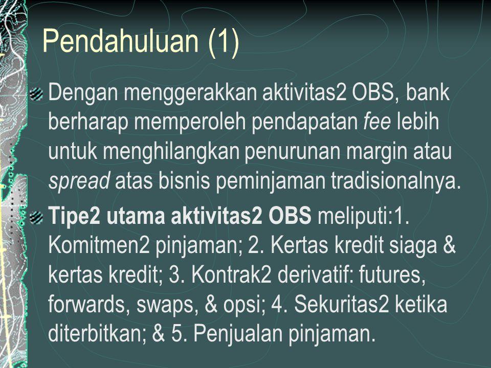 AKTIVITAS2 OBS YANG MENINGKATKAN NONRISIKO (2) Fee dari aktivitas2 OBS menyediakan sumber pendapatan nonbunga kunci bagi beberapa FI, khususnya aktivitas2 OBS terbesar & kredit paling bernilai.
