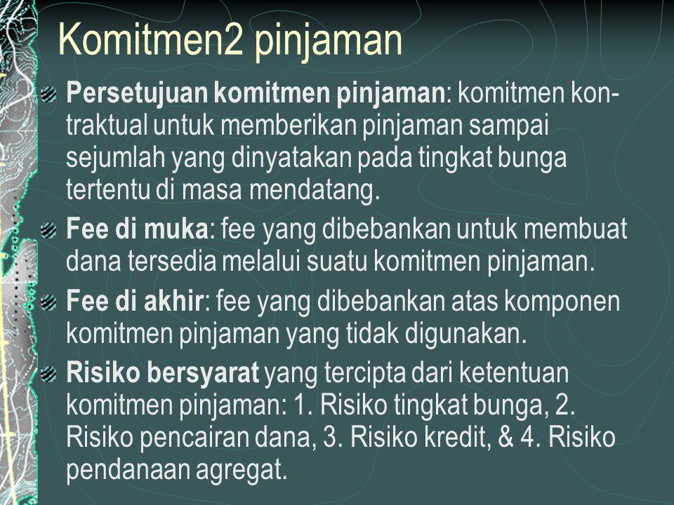 Komitmen2 pinjaman Persetujuan komitmen pinjaman : komitmen kon- traktual untuk memberikan pinjaman sampai sejumlah yang dinyatakan pada tingkat bunga tertentu di masa mendatang.