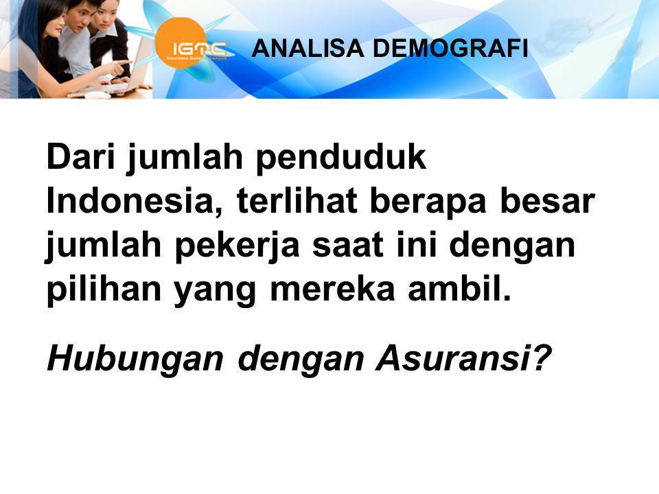 ANALISA DEMOGRAFI Dari jumlah penduduk Indonesia, terlihat berapa besar jumlah pekerja saat ini dengan pilihan yang mereka ambil. Hubungan dengan Asur