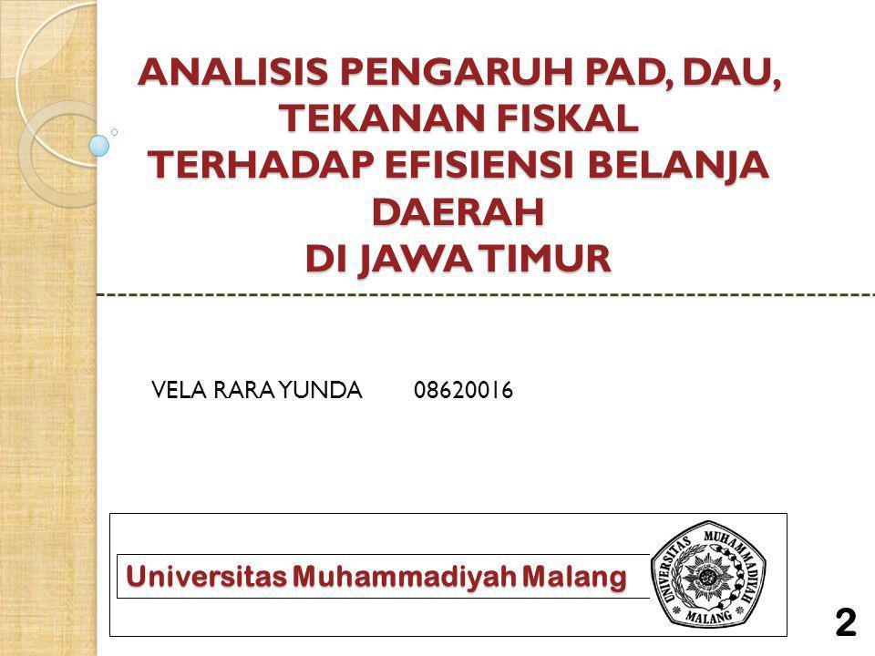 ANALISIS PENGARUH PAD, DAU, TEKANAN FISKAL TERHADAP EFISIENSI BELANJA DAERAH DI JAWA TIMUR VELA RARA YUNDA08620016 Universitas Muhammadiyah Malang 2