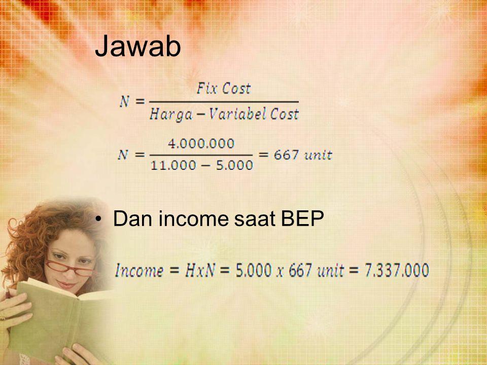 Jawab Dan income saat BEP