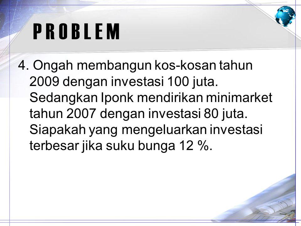 P R O B L E M 4. Ongah membangun kos-kosan tahun 2009 dengan investasi 100 juta. Sedangkan Iponk mendirikan minimarket tahun 2007 dengan investasi 80