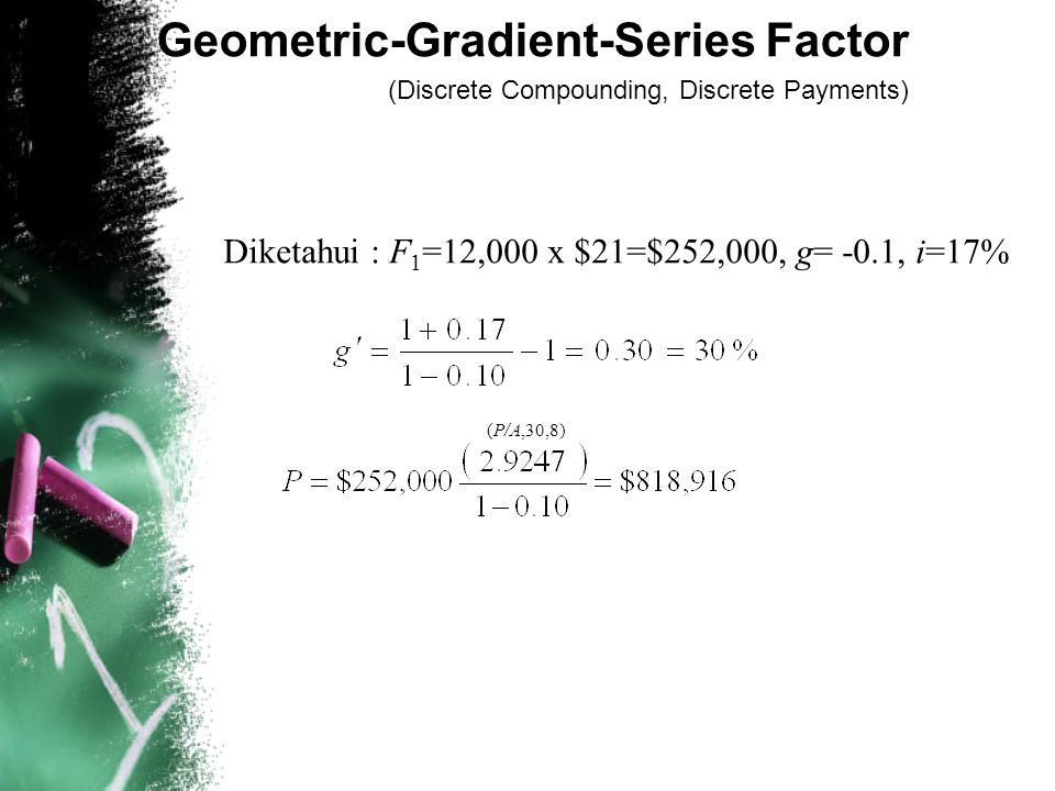 Geometric-Gradient-Series Factor (Discrete Compounding, Discrete Payments) Diketahui : F 1 =12,000 x $21=$252,000, g= -0.1, i=17% (P/A,30,8)