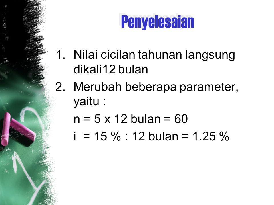 Jawab P = A (P/A, 10 %, 10) + G (P/G, 10, 10) P = 1.000.000 () + 1.000.000 () P = … 01 2 3n-1n (n-2)G (n-1)G 2G2G G 1 juta