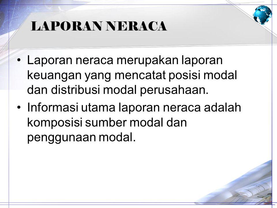 LAPORAN NERACA Laporan neraca merupakan laporan keuangan yang mencatat posisi modal dan distribusi modal perusahaan. Informasi utama laporan neraca ad