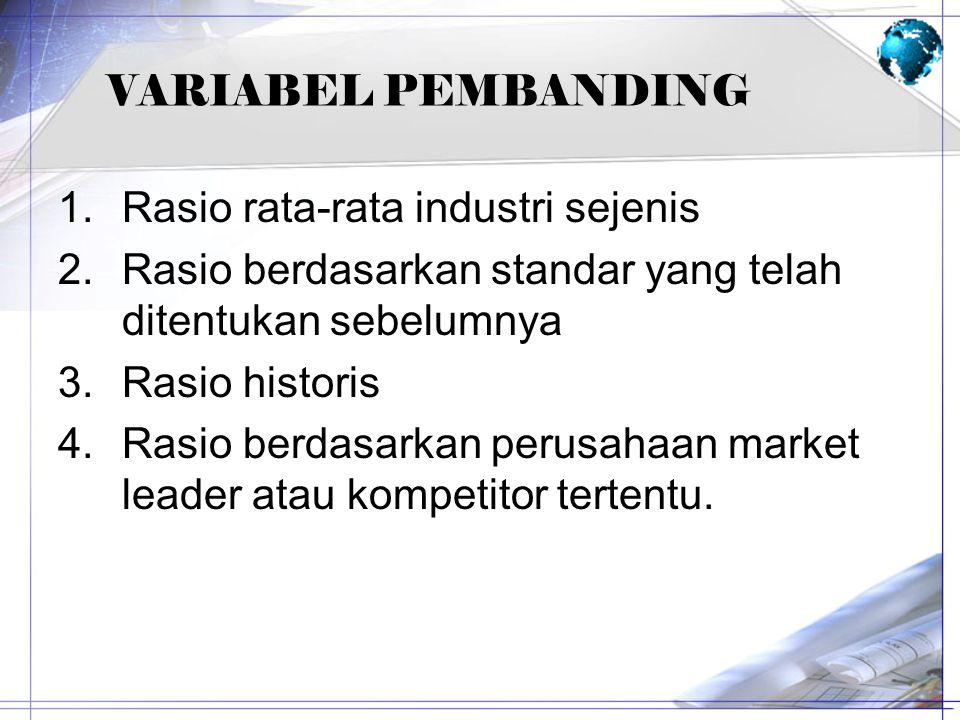 VARIABEL PEMBANDING 1.Rasio rata-rata industri sejenis 2.Rasio berdasarkan standar yang telah ditentukan sebelumnya 3.Rasio historis 4.Rasio berdasark
