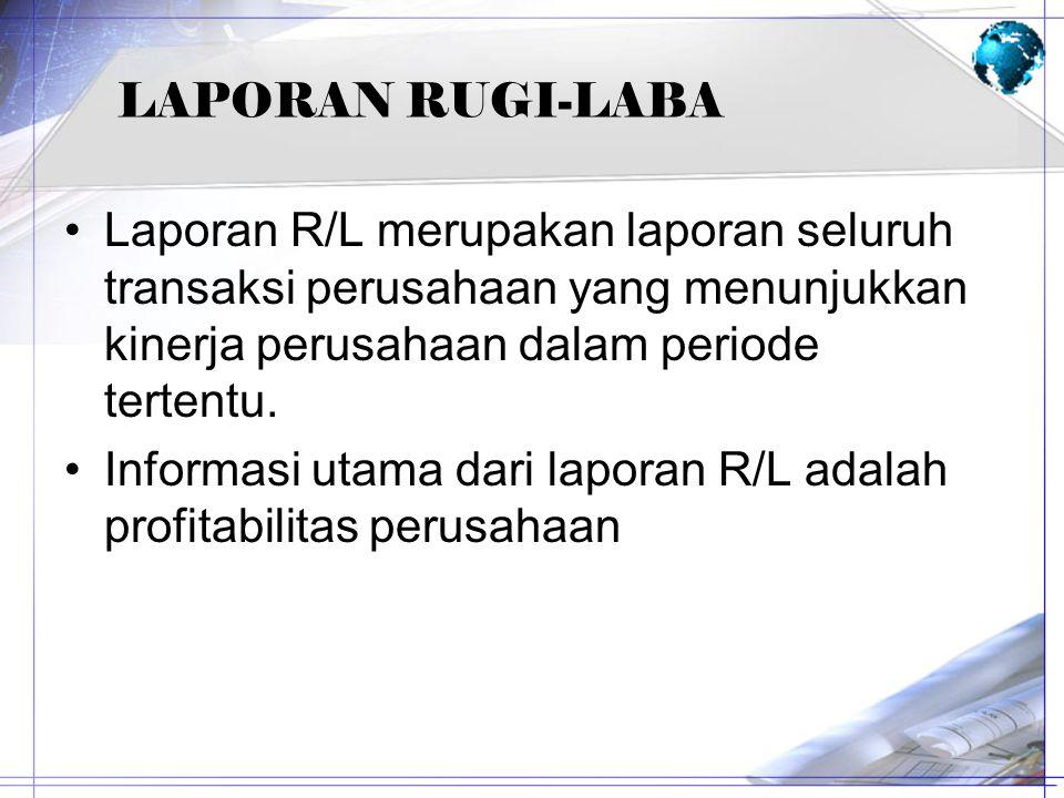 LAPORAN RUGI-LABA Laporan R/L merupakan laporan seluruh transaksi perusahaan yang menunjukkan kinerja perusahaan dalam periode tertentu. Informasi uta