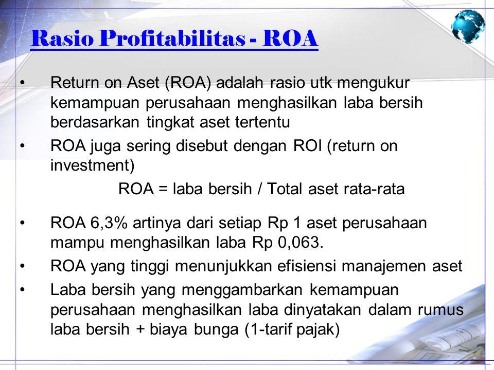 Rasio Profitabilitas - ROA Return on Aset (ROA) adalah rasio utk mengukur kemampuan perusahaan menghasilkan laba bersih berdasarkan tingkat aset terte