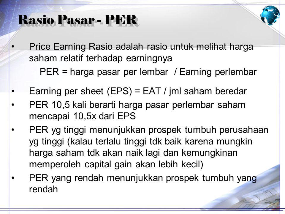 Rasio Pasar - PER Price Earning Rasio adalah rasio untuk melihat harga saham relatif terhadap earningnya PER = harga pasar per lembar / Earning perlem