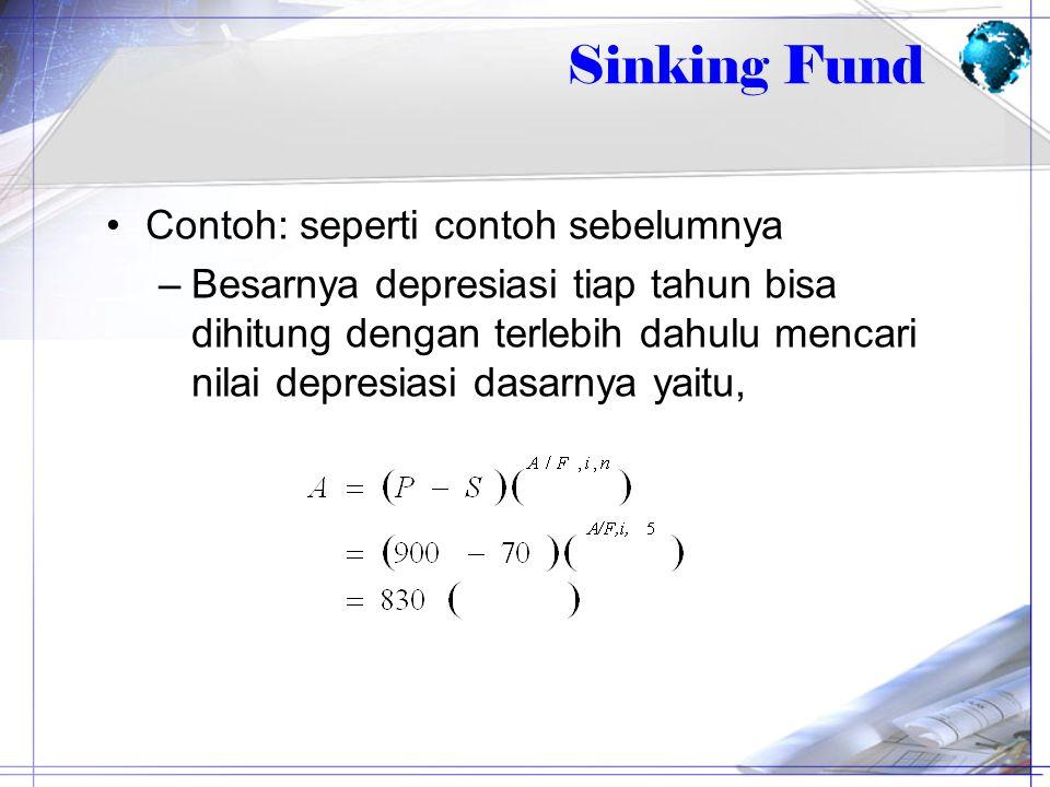 Contoh: seperti contoh sebelumnya –Besarnya depresiasi tiap tahun bisa dihitung dengan terlebih dahulu mencari nilai depresiasi dasarnya yaitu, Sinkin