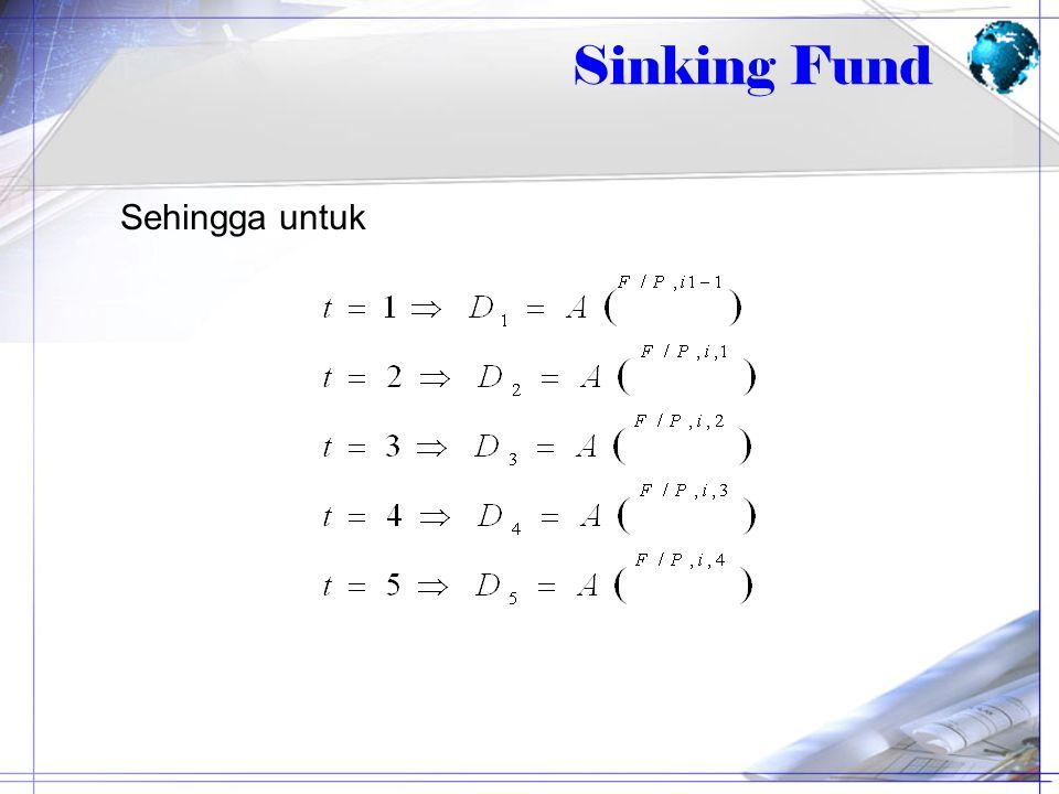 Sehingga untuk Sinking Fund