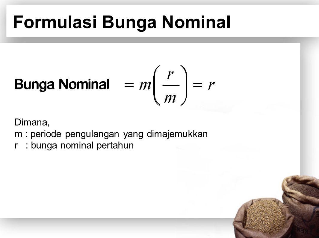 Formulasi Bunga Nominal Bunga Nominal Dimana, m : periode pengulangan yang dimajemukkan r : bunga nominal pertahun Bunga Nominal