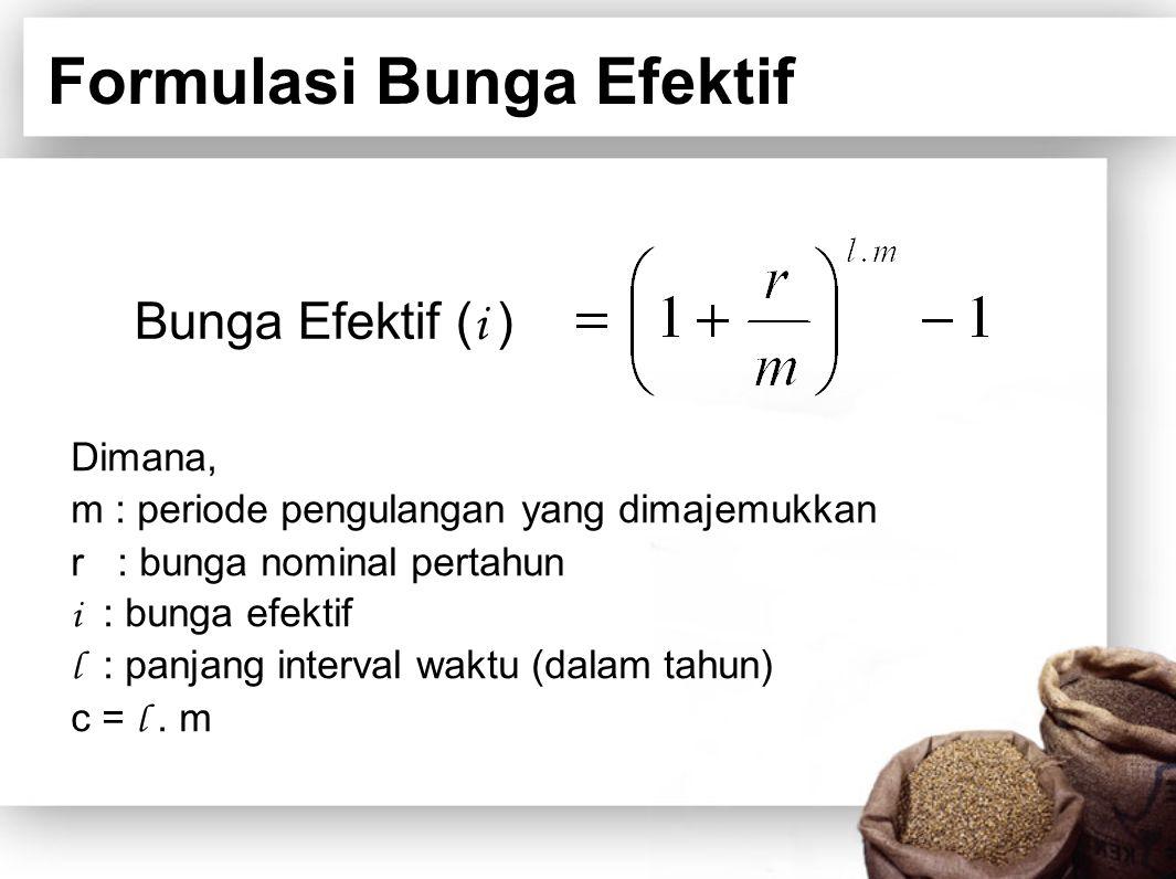 Formulasi Bunga Efektif Dimana, m : periode pengulangan yang dimajemukkan r : bunga nominal pertahun i : bunga efektif l : panjang interval waktu (dal