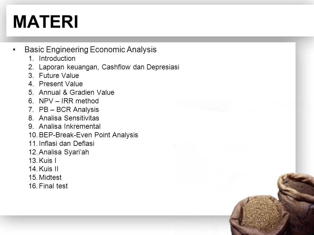 MATERI Basic Engineering Economic Analysis 1.Introduction 2.Laporan keuangan, Cashflow dan Depresiasi 3.Future Value 4.Present Value 5.Annual & Gradien Value 6.NPV – IRR method 7.PB – BCR Analysis 8.Analisa Sensitivitas 9.Analisa Inkremental 10.BEP-Break-Even Point Analysis 11.Inflasi dan Deflasi 12.Analisa Syari'ah 13.Kuis I 14.Kuis II 15.Midtest 16.Final test