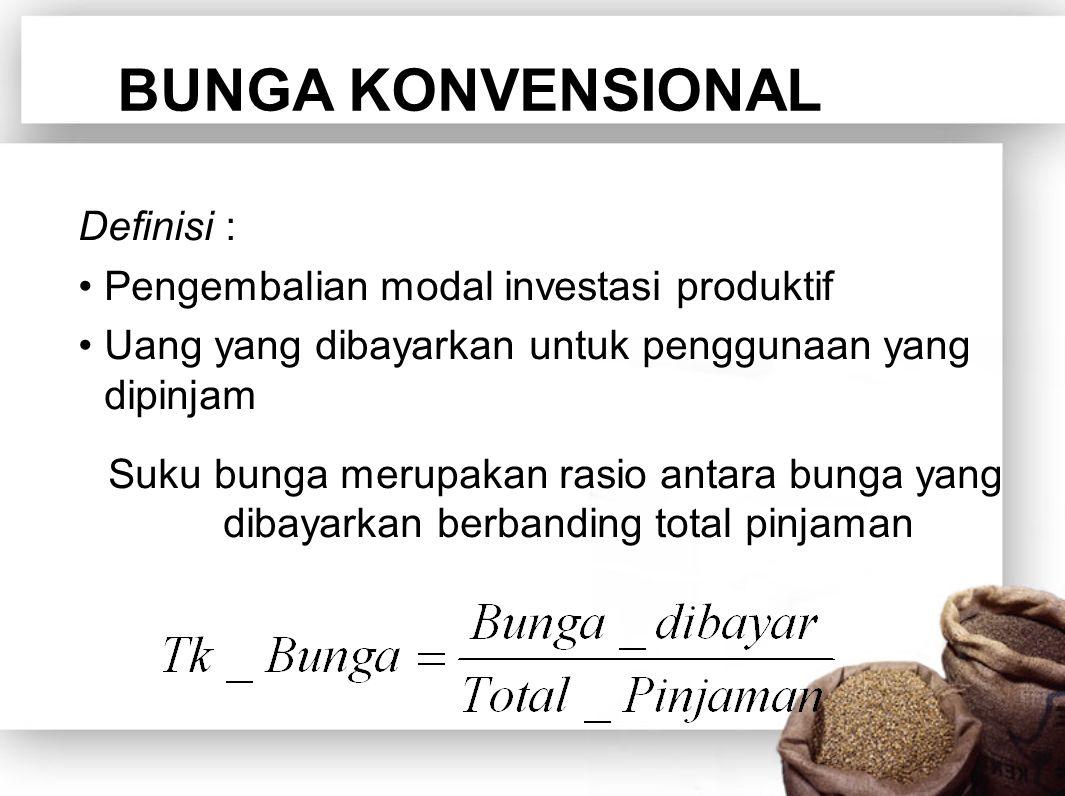 BUNGA KONVENSIONAL Definisi : Pengembalian modal investasi produktif Uang yang dibayarkan untuk penggunaan yang dipinjam Suku bunga merupakan rasio antara bunga yang dibayarkan berbanding total pinjaman