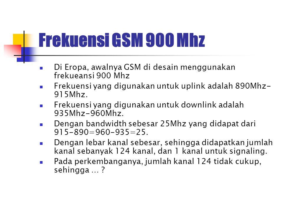 Frekuensi GSM 900 Mhz Di Eropa, awalnya GSM di desain menggunakan frekueansi 900 Mhz Frekuensi yang digunakan untuk uplink adalah 890Mhz- 915Mhz. Frek